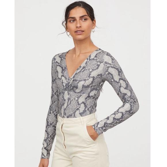 2708dc39b6e3 H&M Tops   Hm Vneck Grey Snake Print Bodysuit   Poshmark